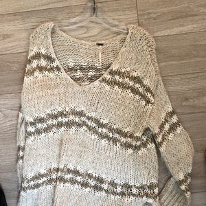 Free People Cream Knit sweater